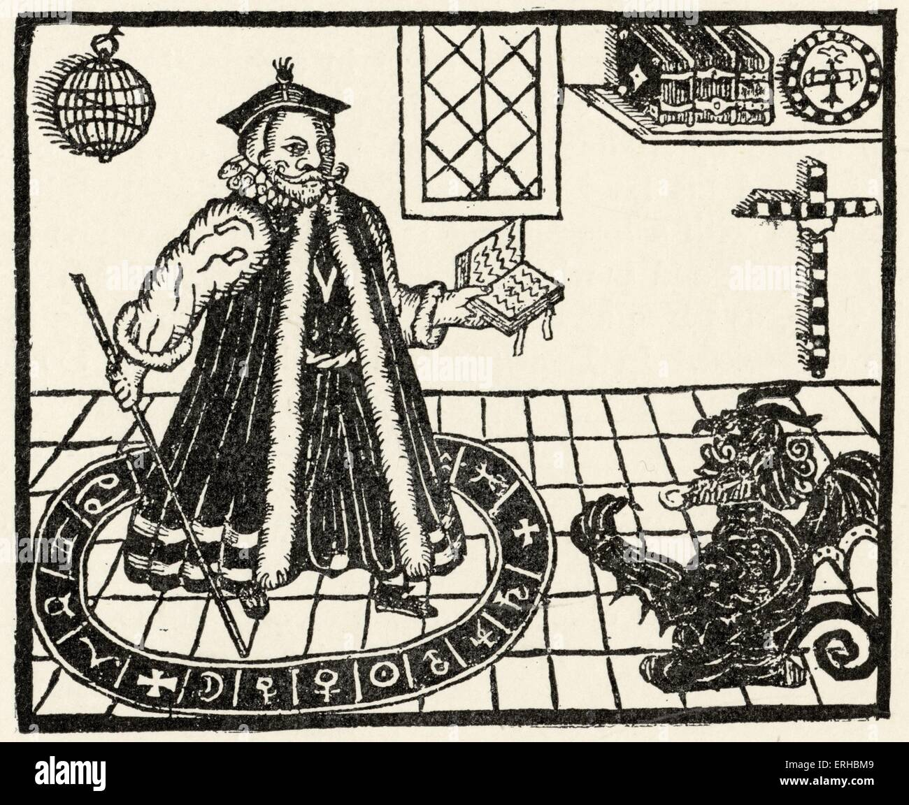 Woodcut of Faustus / Faust and Mephistopheles   Title page to Christopher Marlowe's 'The Tragicall Historie of the Stock Photo