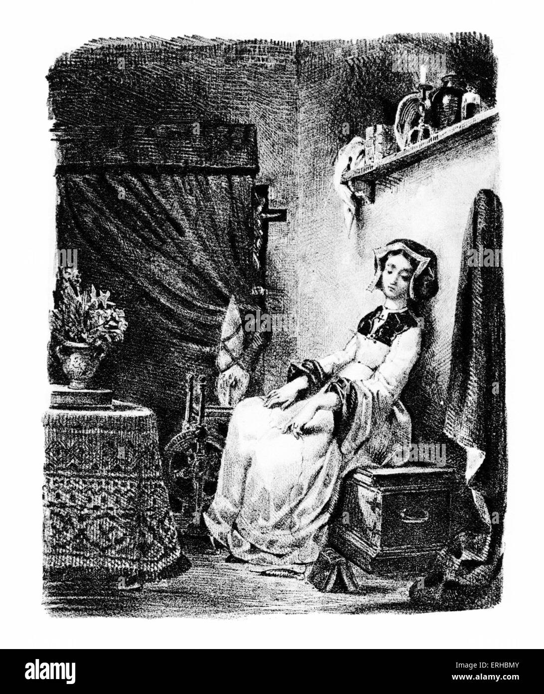Goethe 's Faust, 1828.  Marguerite / Gretchen at the spinning wheel Lithograph by Eugene Delacroix.  German poet, Stock Photo