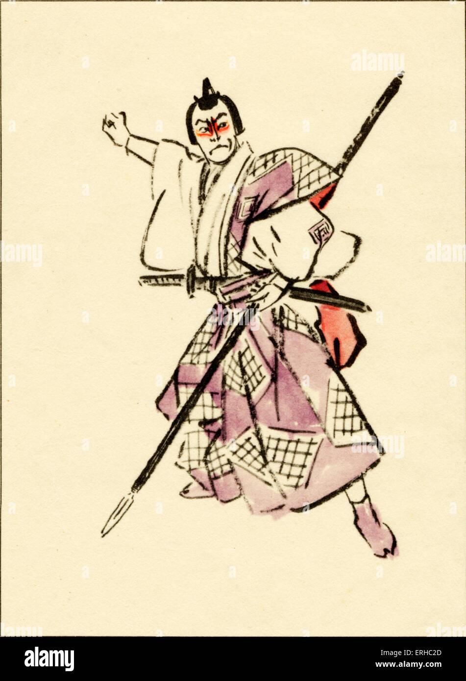 Japan Kabuki theatre scene. 'The samurai is ready for single -handed combat ' - Stock Image