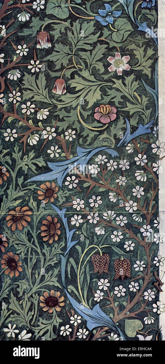 Design for 'Blackthorn' wallpaper by John Henry Dearle for Morris & Co, Ltd (1892).  Furnishings and - Stock Image