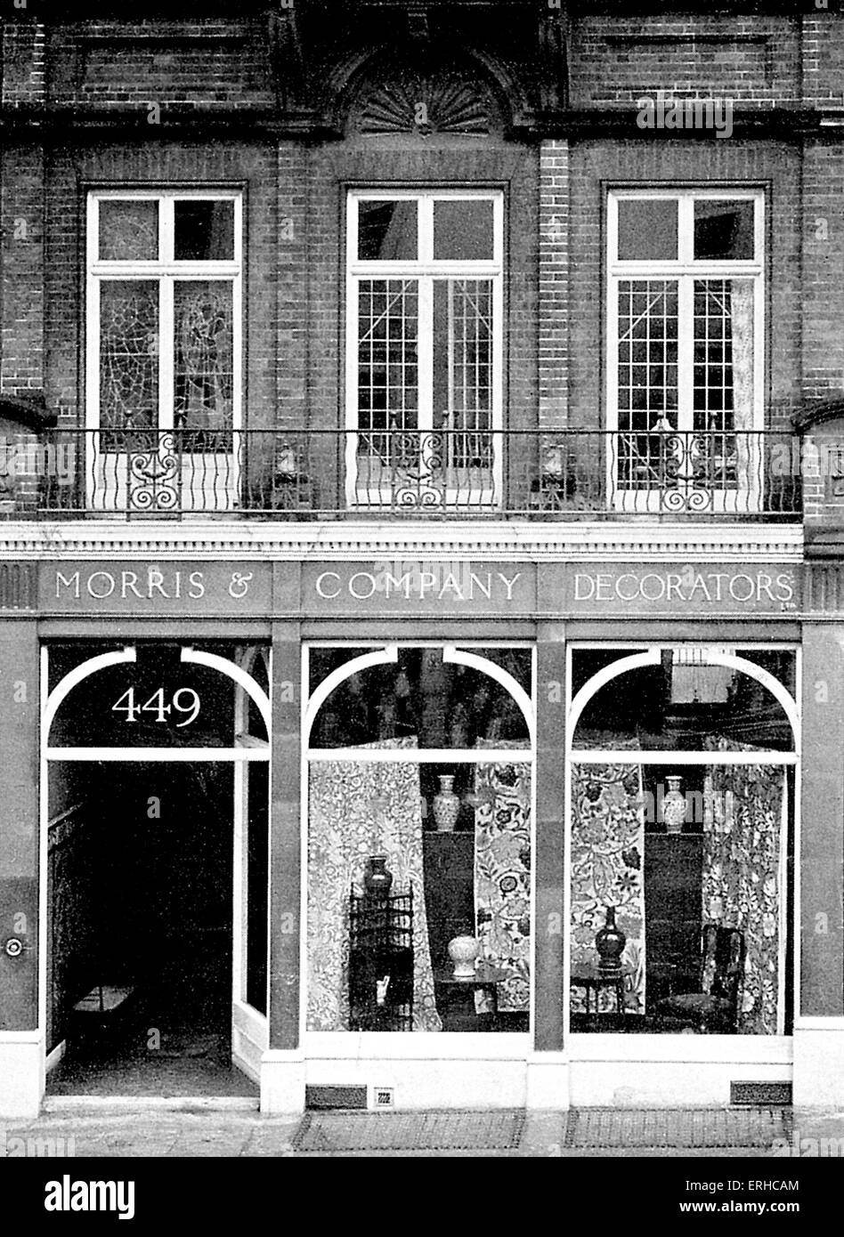 Morris & Co premises at 449, Oxford Street, London, 1879.  Furnishings and decorative arts manufacturers and - Stock Image