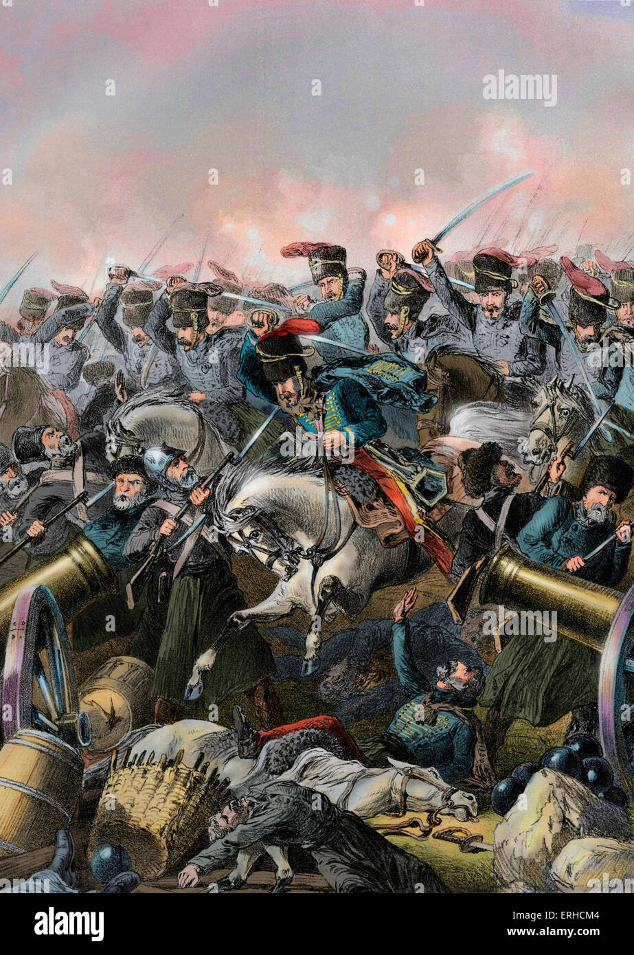 The charge of the light brigade at Balaclava led by Lord Cardigan during the Battle of Balaclava on 25 October 1854 - Stock Image