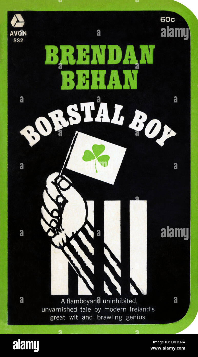 'Borstal Boy' by Brendan Behan. Book Cover. Illustration and design by Larry Lurin. Published 1964. First - Stock Image