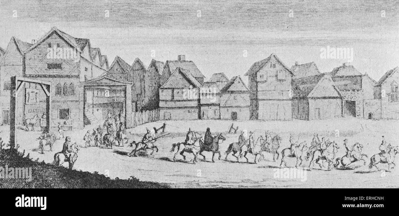 Canterbury pilgrims leave the Tabard Inn, Borough High Street, Southwark, London. The Tabard is famous as the place - Stock Image