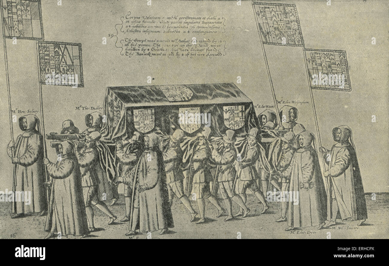 Procession at the funeral of Sir Philip Sidney, 1586. After the  illustration from Laut 's 'Sequitur Celebritas Pompa Funeris', 1587.