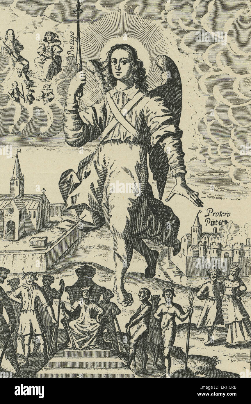 'The Principat', allegorical plate from Thomas Heywood 's, 'The Hierarchy of the Blessed Angels', - Stock Image