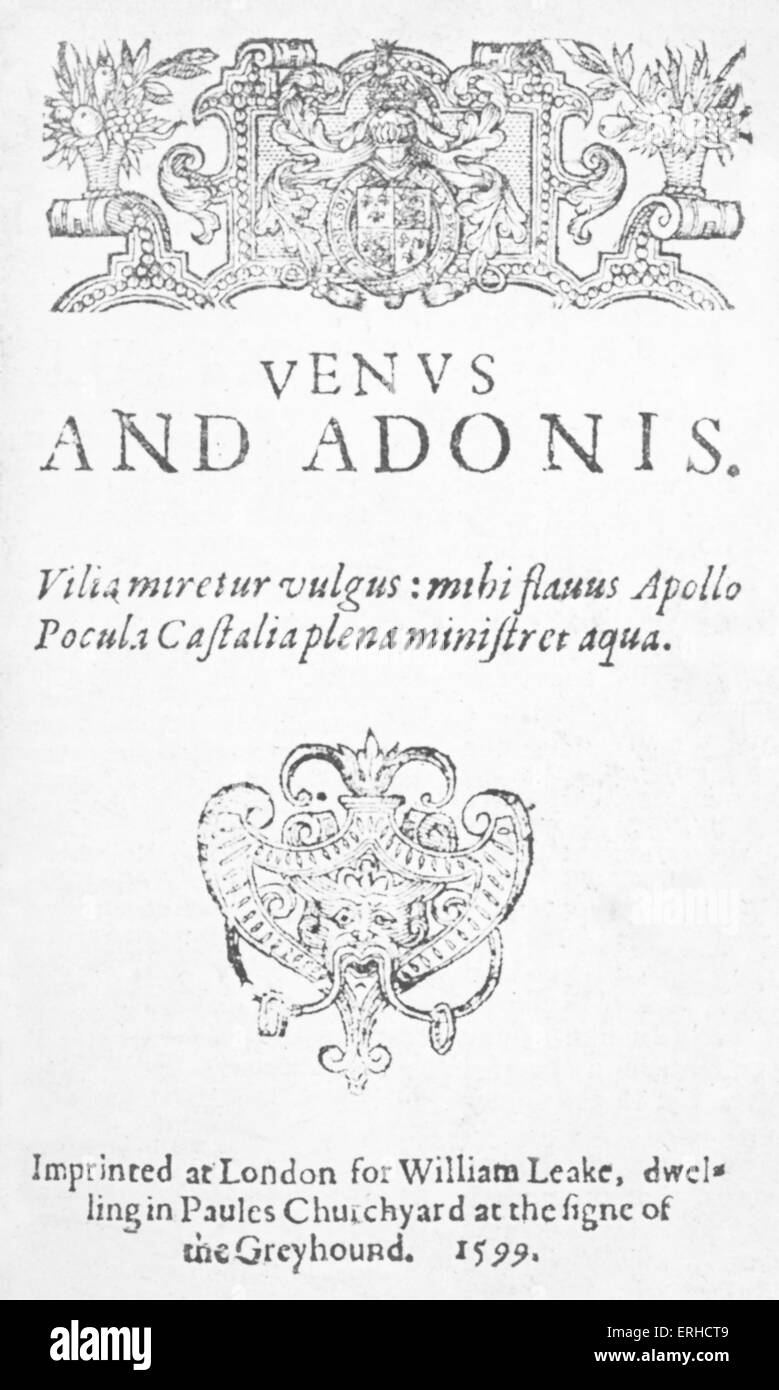 Frontispiece of 'Venus and Adonis', 1599. Poem by William Shakespeare with a plot based on passages from - Stock Image