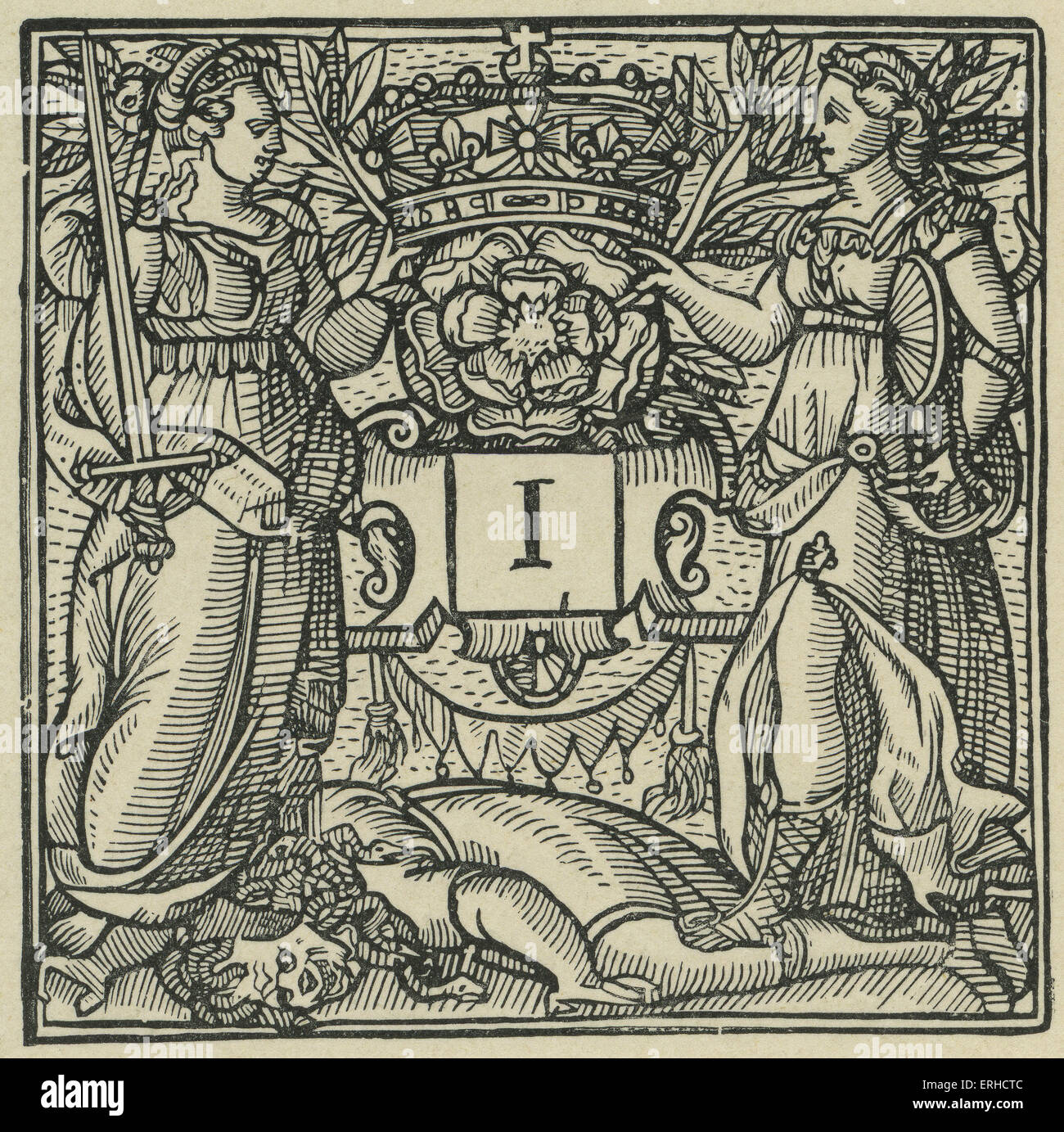 Initial Letter 'I' from Sidney's Arcadia, 1590. Showing two armed women trampling a medusa-figure with - Stock Image