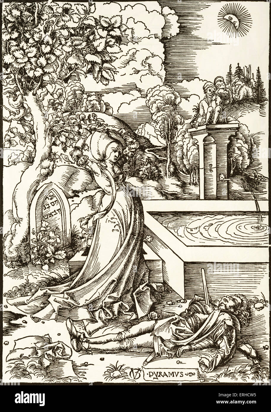46c6a78b782 Story taken from Ovid 's Metamorphoses. Thisbe stands under the mulberry  tree, contemplating the figure of Pyramus who has fallen on his sword.