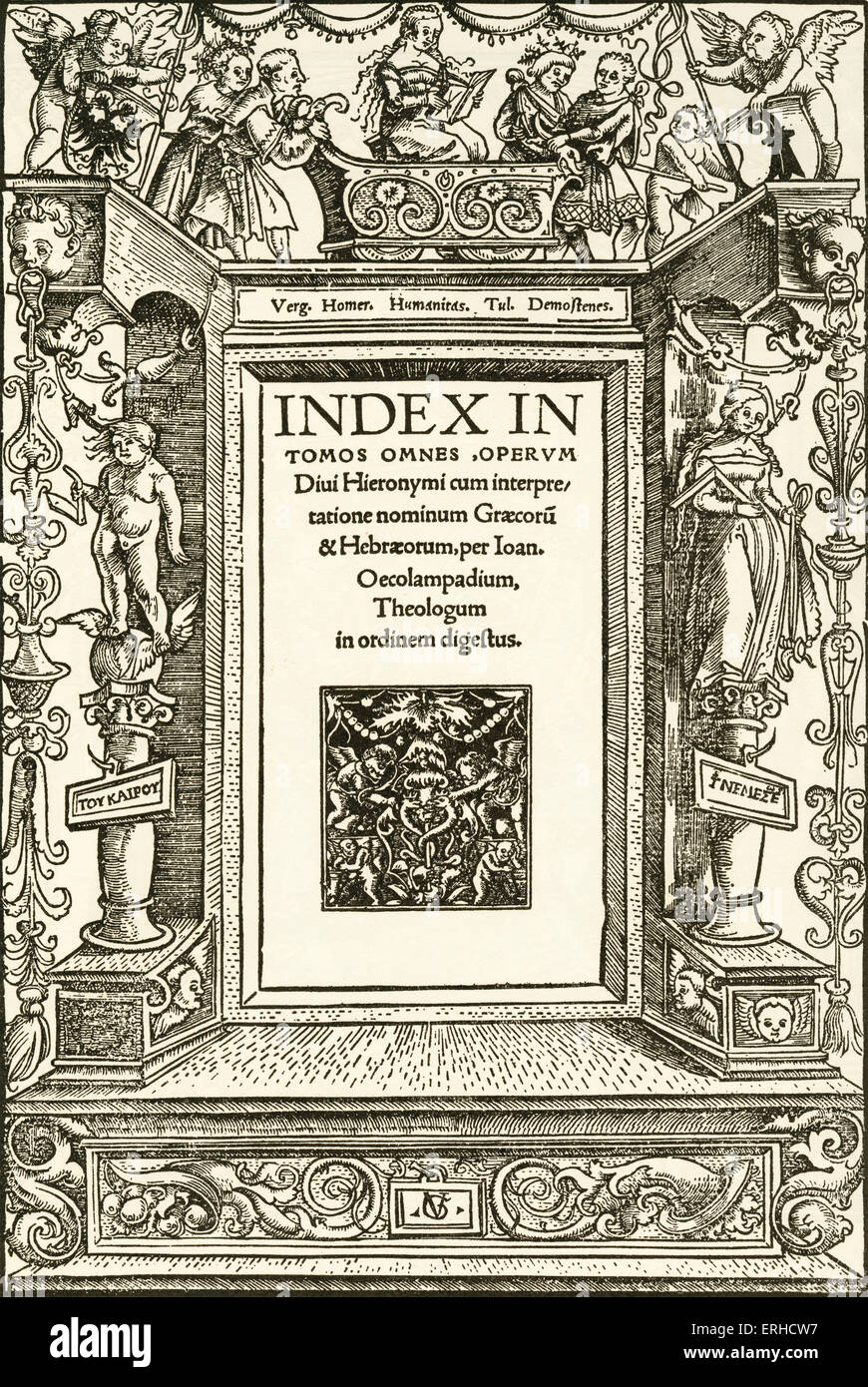 Humanitas, title-page woodcut by Urs Graf, 1513. At the top, a figure representing Humanitas sits in a small triumphal - Stock Image