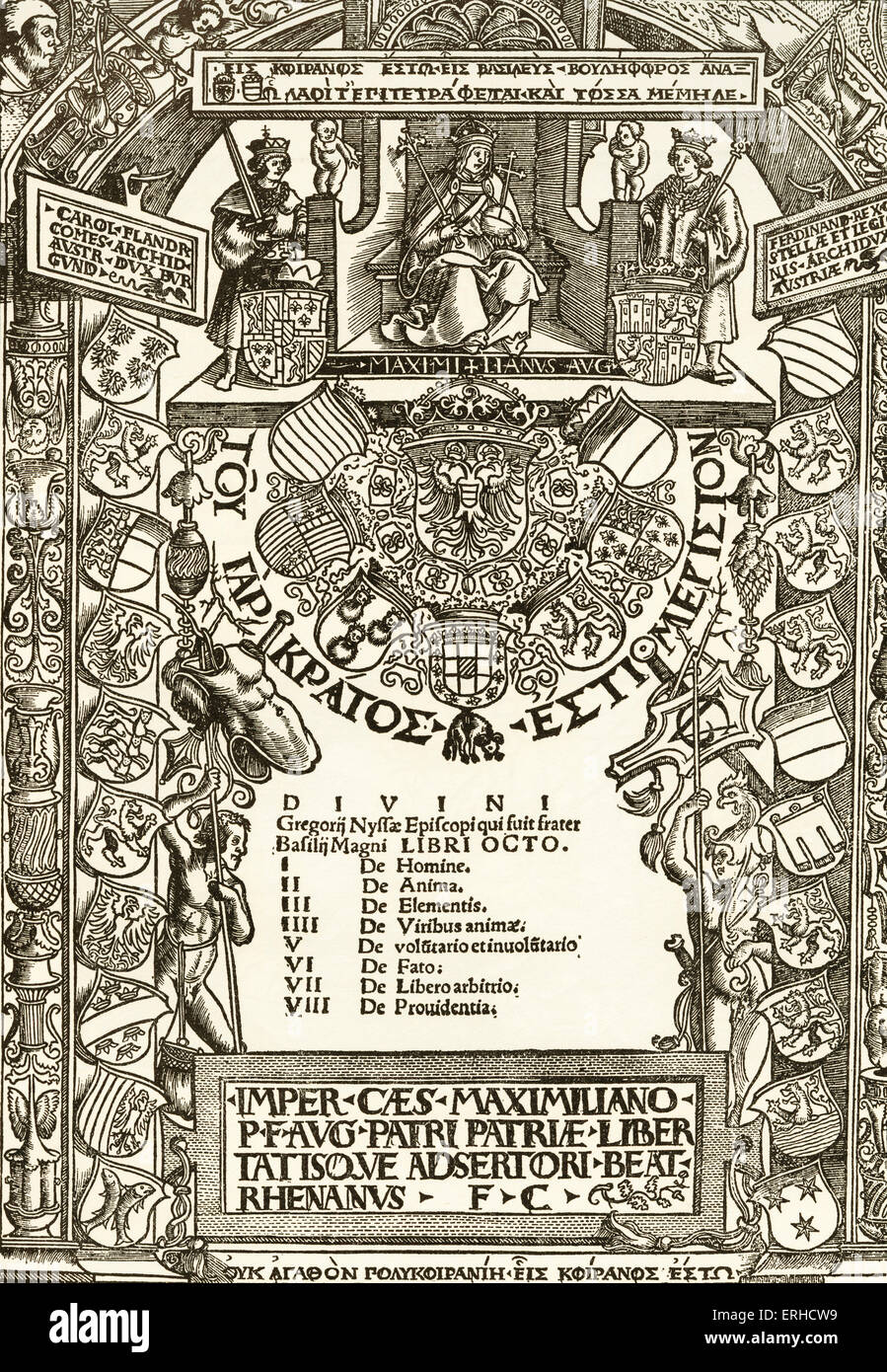 Emperor Maximilian Title Page, woodcut by Urs Graf, May 1512. Homage to Emperor Maximilian, enthroned top centre. - Stock Image
