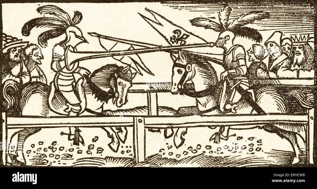 A Tournament, woodcut by Urs Graf, 1521, from two Tales of Chivalry. Two jousting knights in armour face each other - Stock Image
