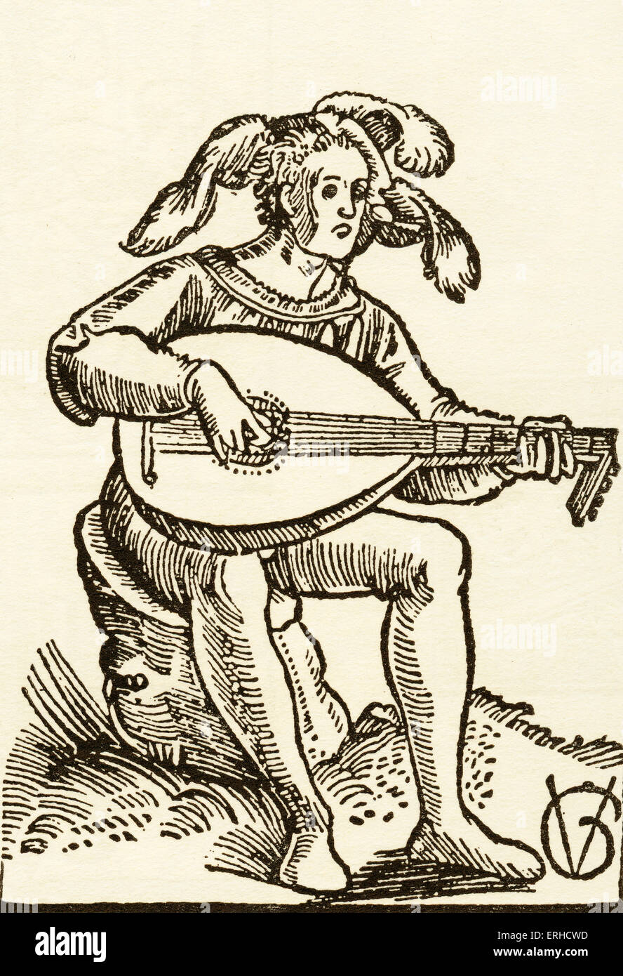 The Lute-Player, woodcut by Urs Graf, 1511. Illustration from a guide to lute-playing. Seated man in headdress or - Stock Image