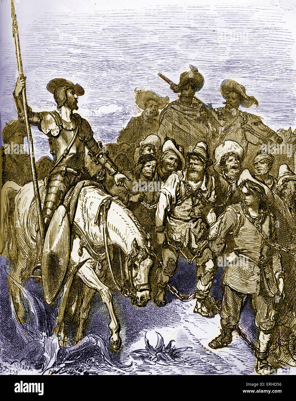 The History of Don Quixote de la Mancha  written by Miguel de Cervantes , Spanish author, and illustrated by Gustav - Stock Image