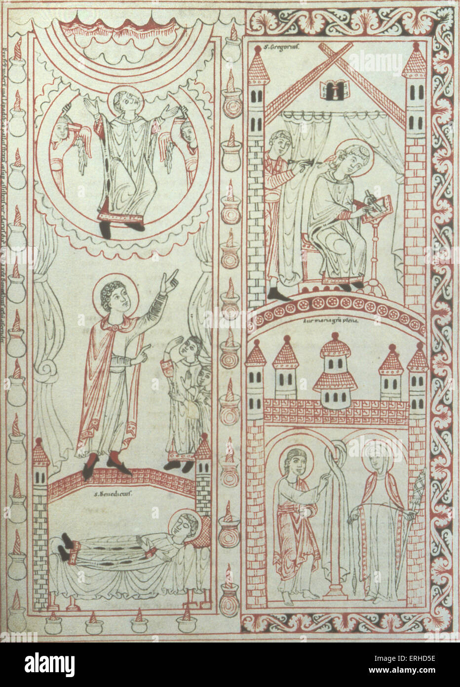 Medieval  10th / 11thC Swabian Illuminated manuscript showing St Gregory (Pope Gregory) (being dictated to by the - Stock Image