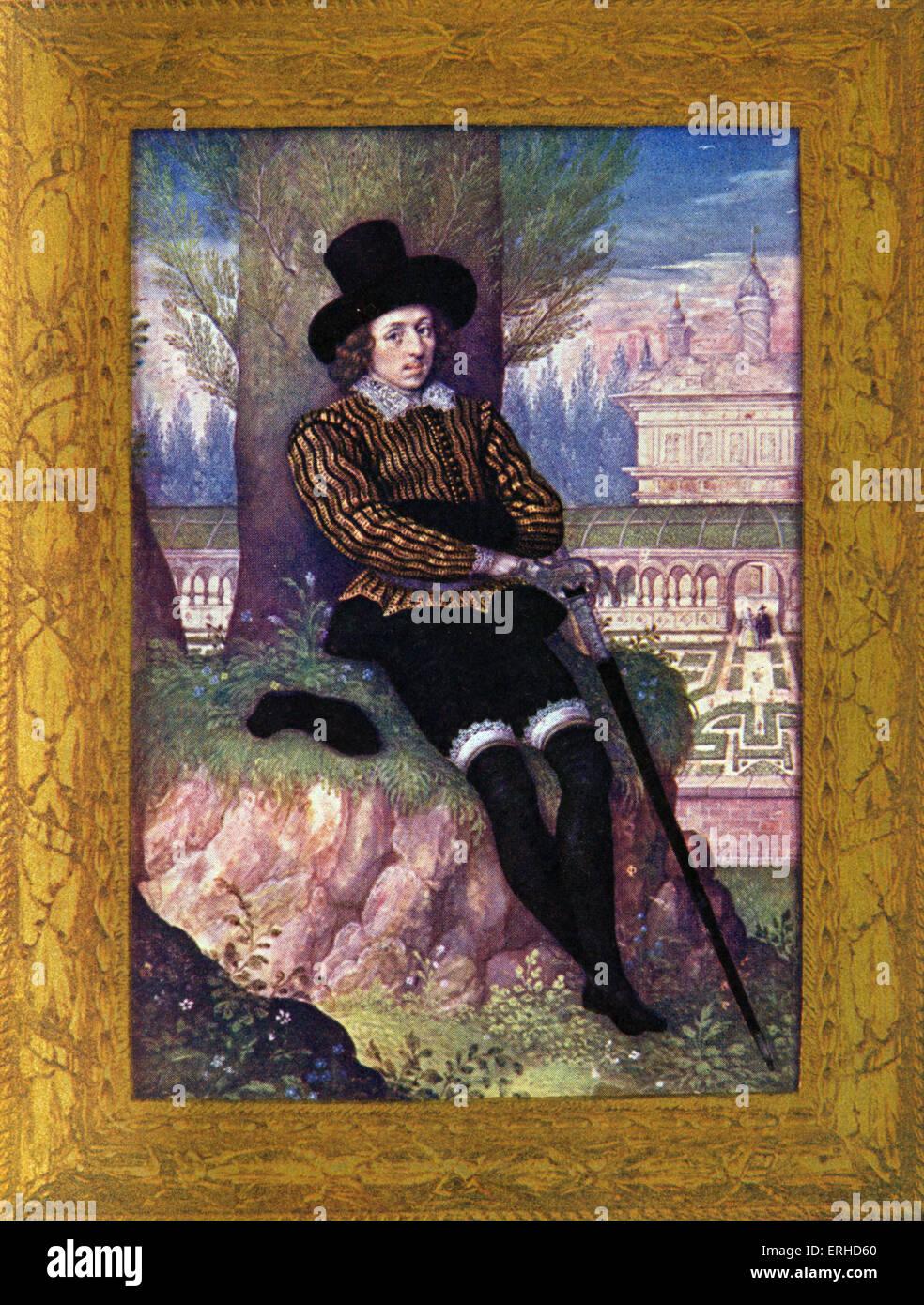 Sir Philip SIDNEY  - miniature portrait by Oliver.  Elizabethan Poet & Courtier. Wrote Arcadia. Elizabethan/Jacobean - Stock Image