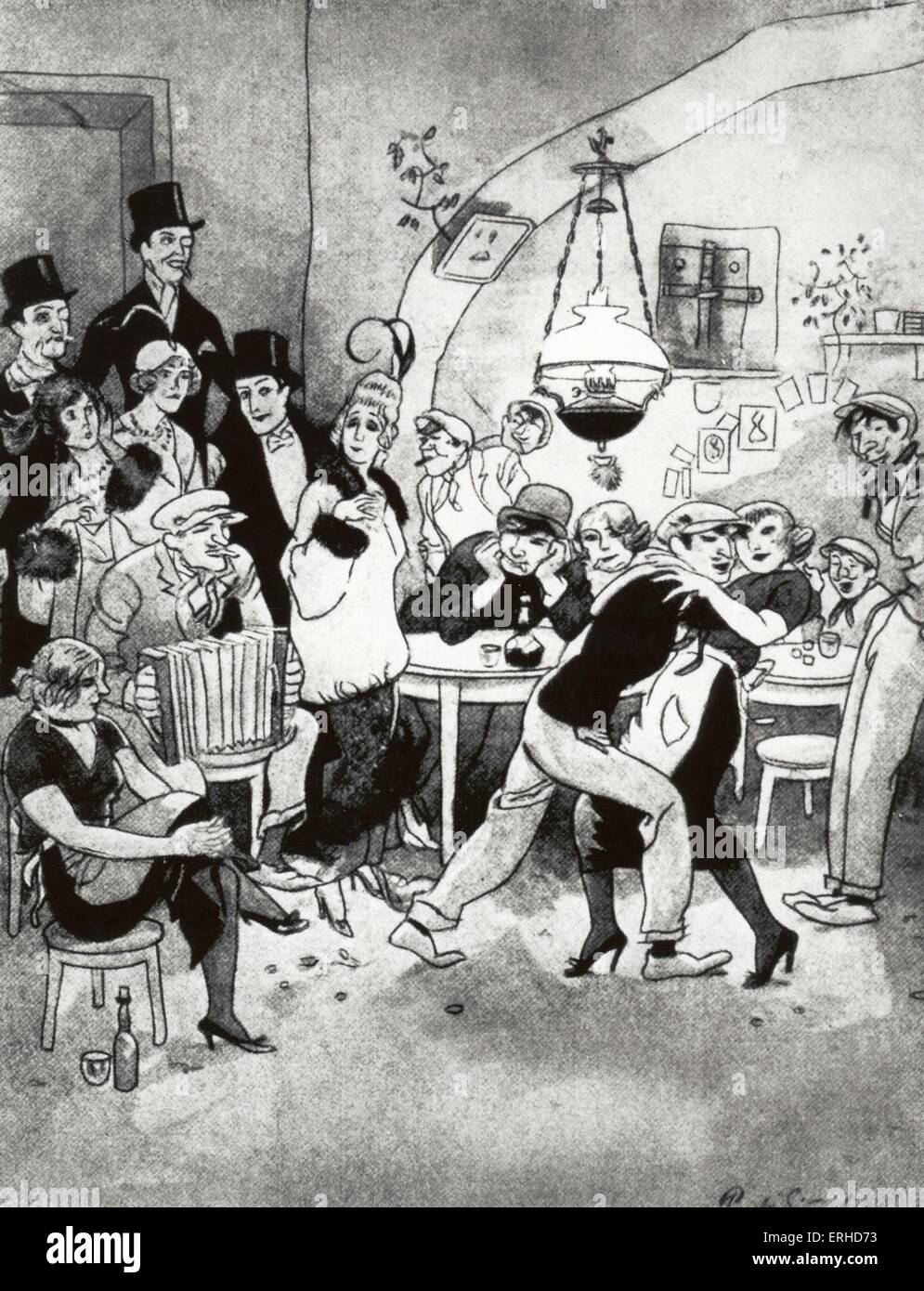 Berlin night club in 1920 - 'Vornehme Gäste in der Kaschemme', satirical cartoon by Simmel. Caption - Stock Image