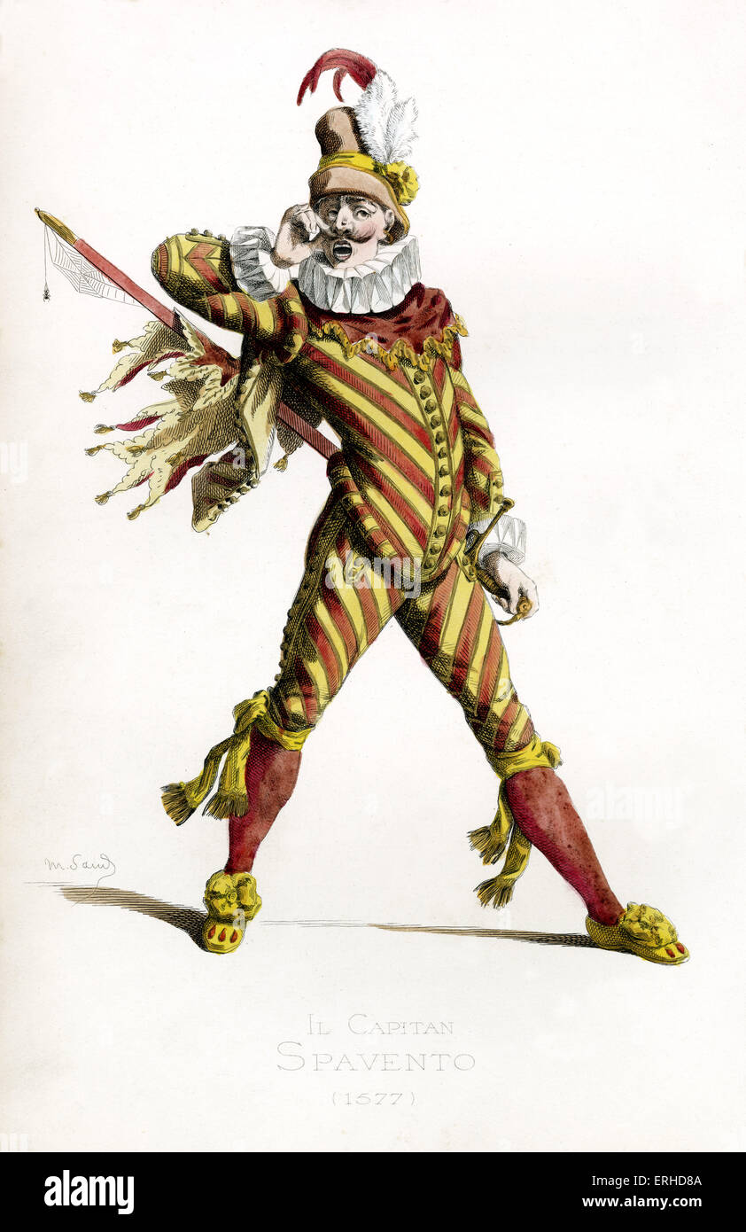 Il Capitano Spavento costume, 1577 - drawn by Maurice Sand, published in 1860. Commedia dell' Arte character. Italian version of the Spanish Capitan Matamoros and French Capitaine Fracasse. He wears a hat, ruffled collar. Stock Photo
