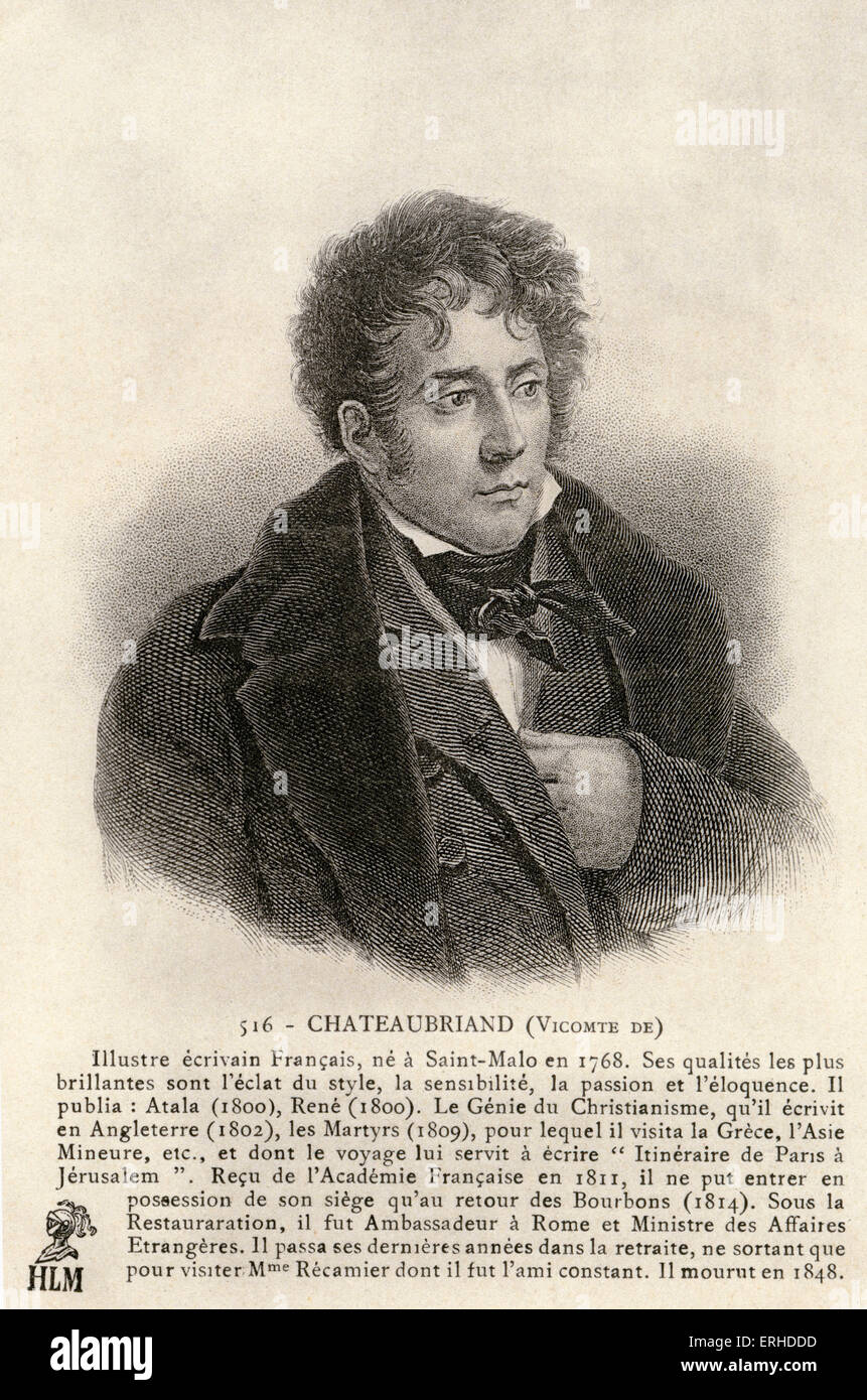 Viscount Chateaubriand, French writer, 1768-1848. - Stock Image