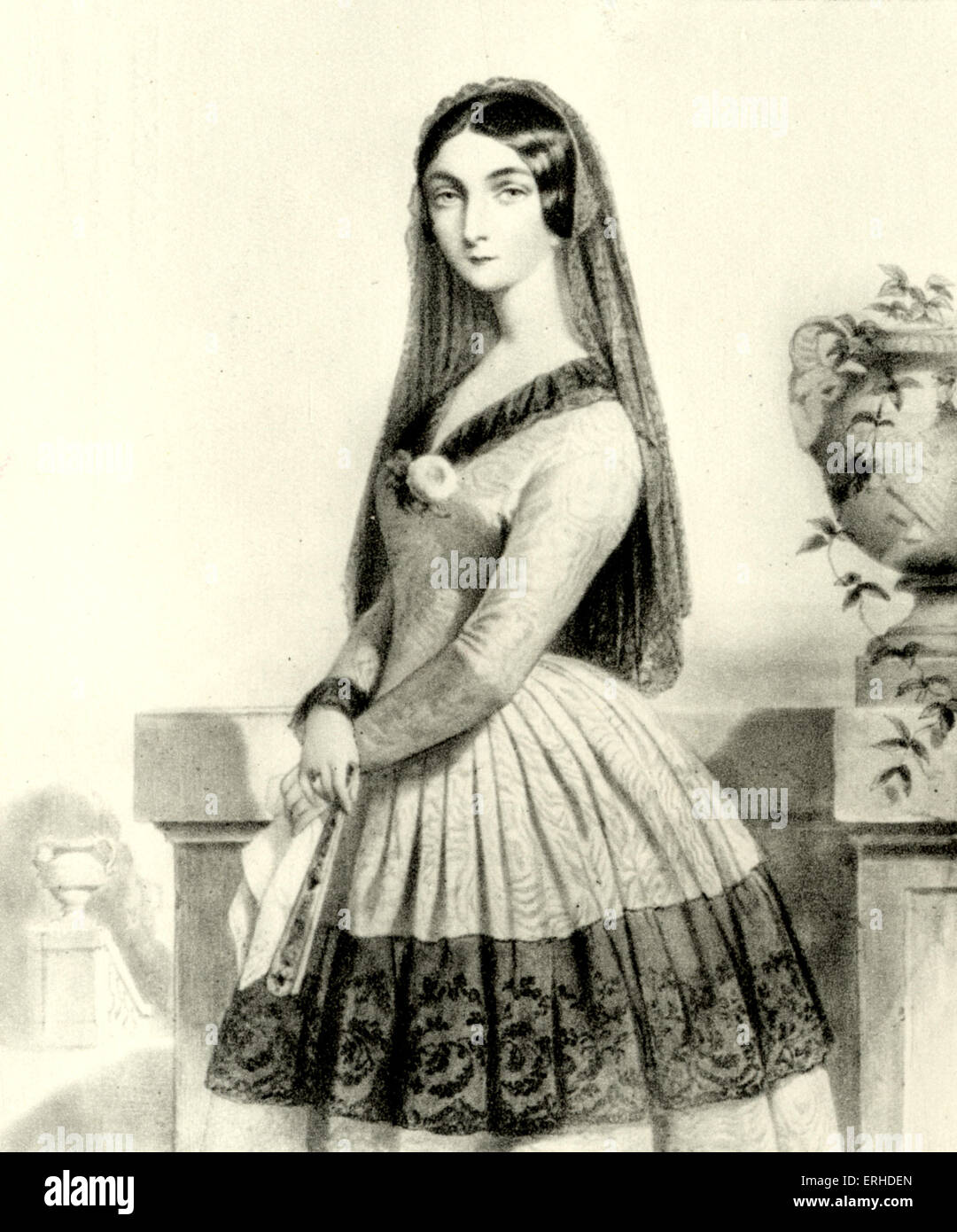 Lola Montes (or Montez). Lithograph by Alophe after a portrait by Dartiguenave. Irish adventurer and dancer (1818 - Stock Image