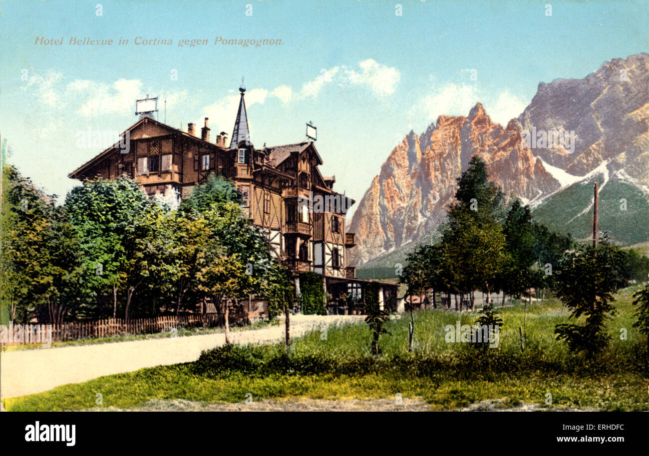 Hotel Bellevue, Cotina withview of Dolomites in background, where Mahler lived and composed 9th and 10th Symphony - Stock Image