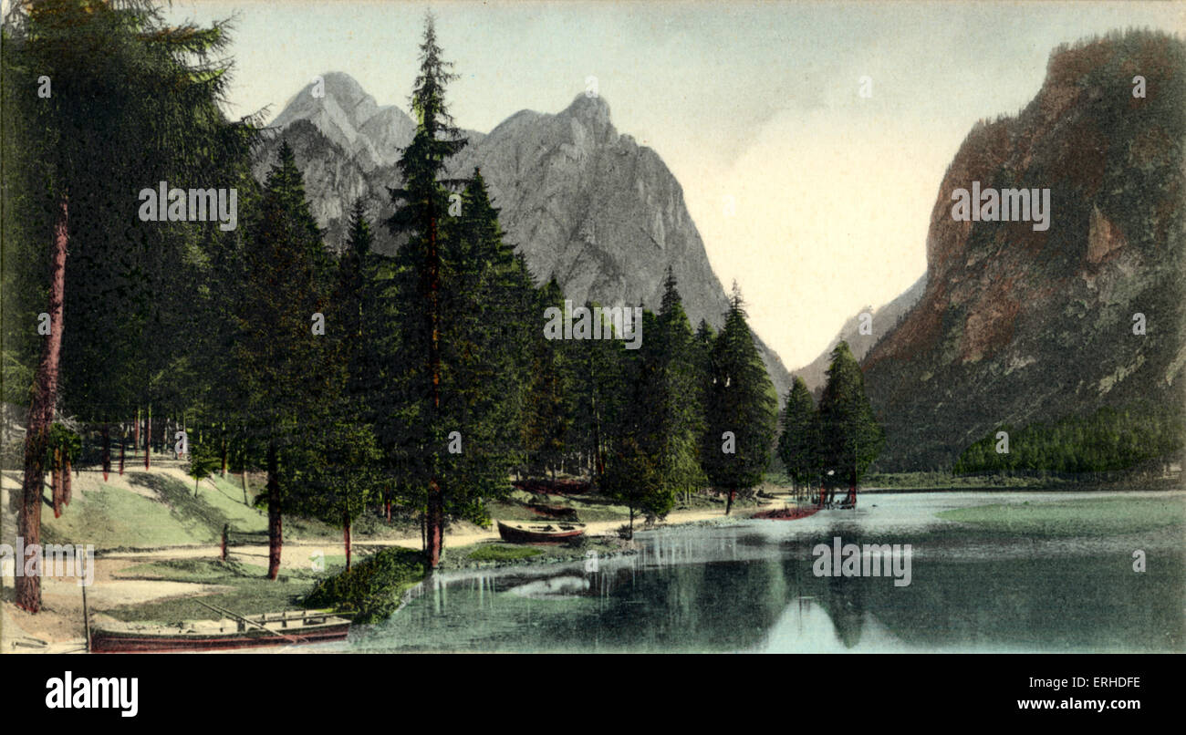 Lake at Toblach and the Dolomites in the background,  where Mahler lived and composed 9th and 10th Symphony and - Stock Image