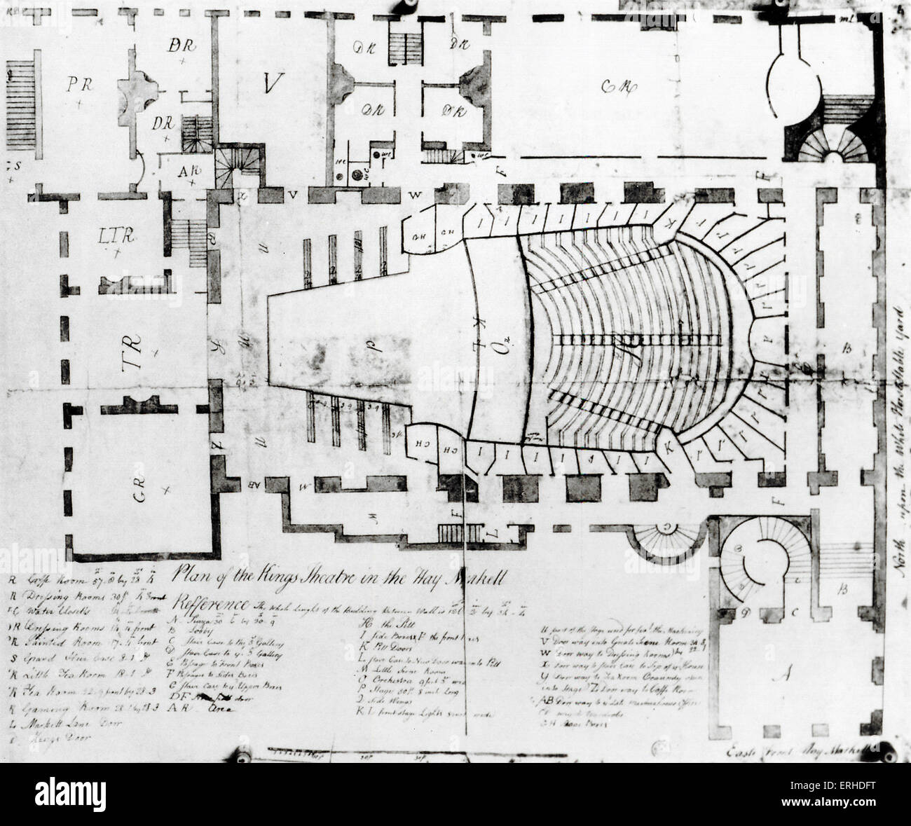 London King's / Kings Theatre - Plan of interior King's Theatre Haymarket.  (Later replaced by His Majesty's - Stock Image