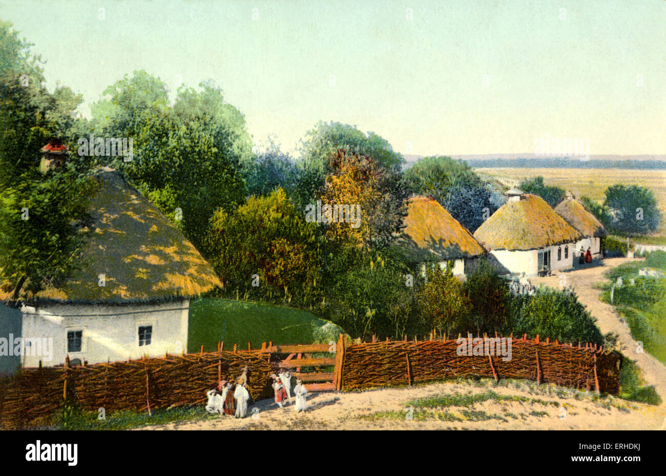 Ukrainian village with thatched houses. Painting  postcard. Pre-Bolshevik revolution. Early 20th century Ukraine - Stock Image