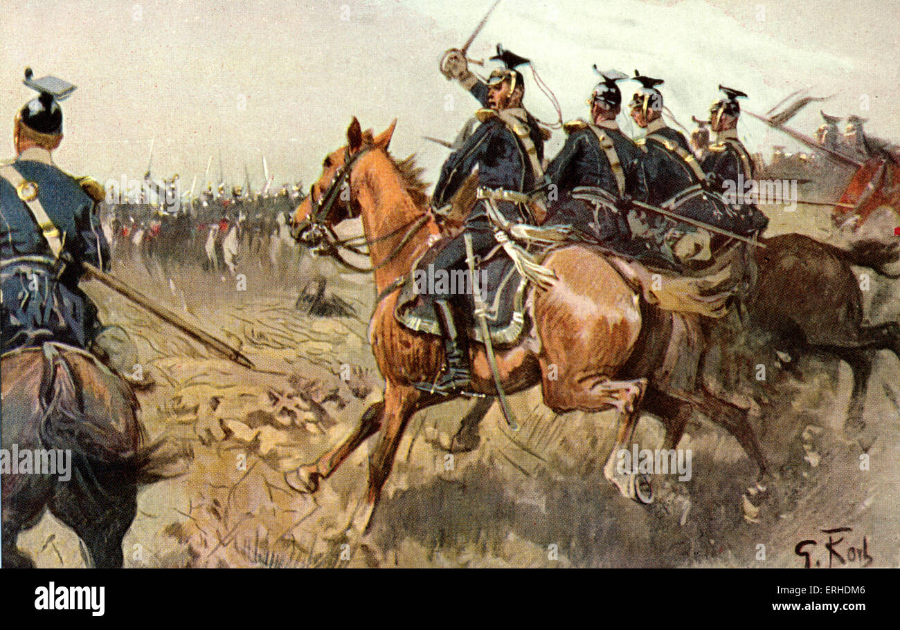 World War I  German cavalry attacking with swords raised.    Enemy approaching them on horseback also with swords - Stock Image