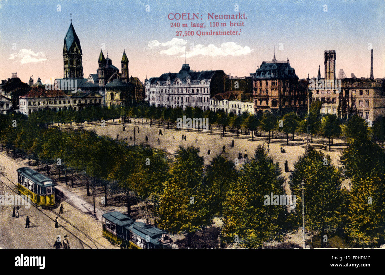 Cologne market place (Neumarkt) Turn of the 20th century view of street with trams and tram lines, trees, townhouses. - Stock Image