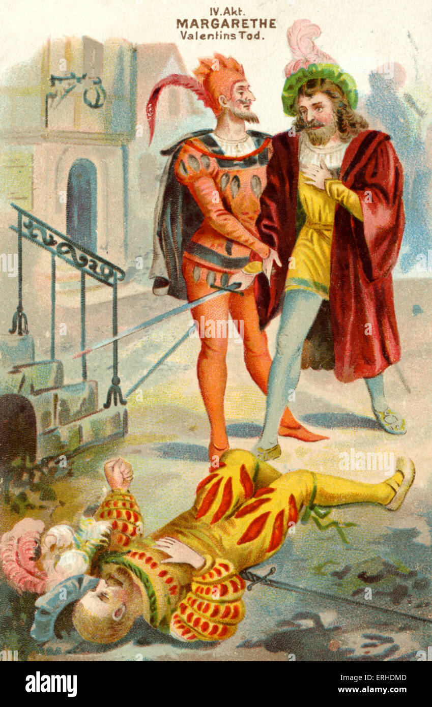 Goethe Faust. Scene from act IV, Valentin's death. Faust and Mephistopheles. Illustration on early 20th century - Stock Image