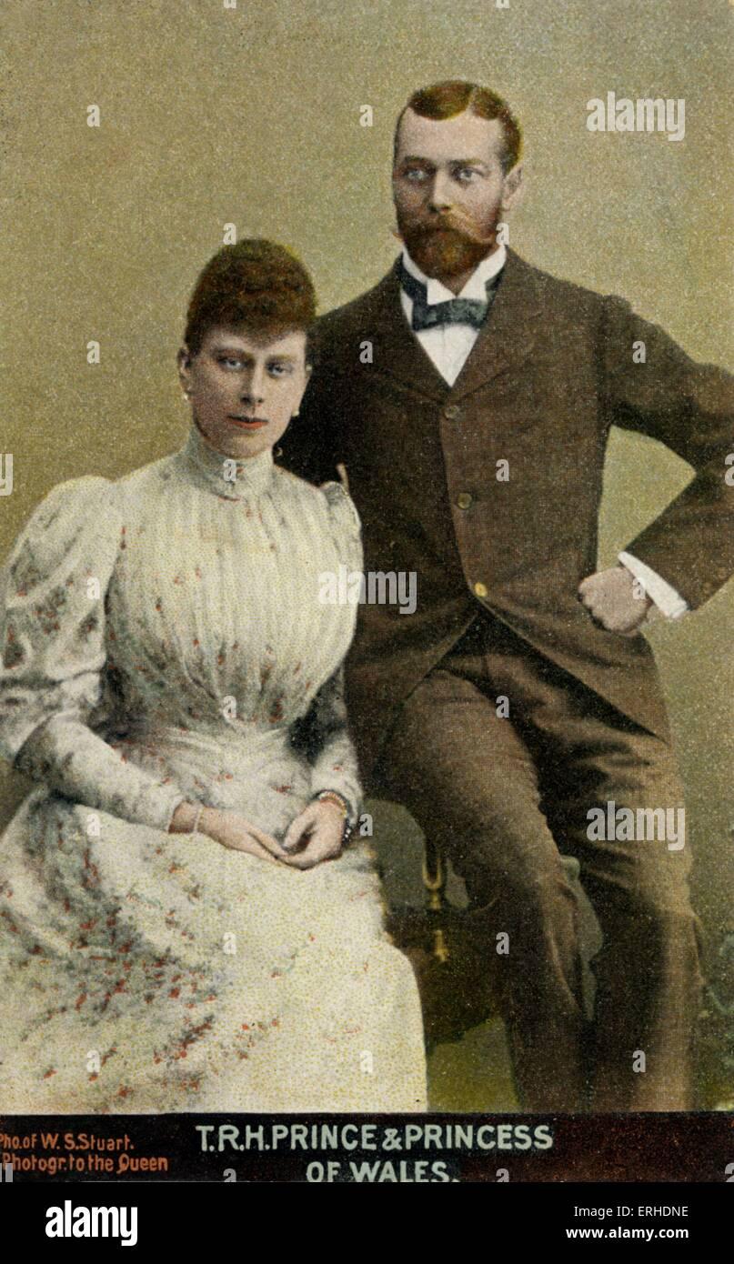 Edward VII &  wife Princess Alexandra of Denmark. Portrait captioned ' T.R.H. Prince & Princess of Wales - Stock Image