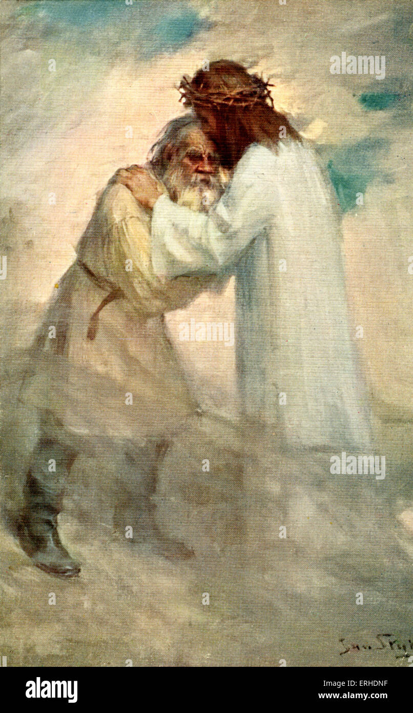 Tolstoy's Resurrection - painting showing Jesus wearing crown of thorns and old man in heavenly background. - Stock Image