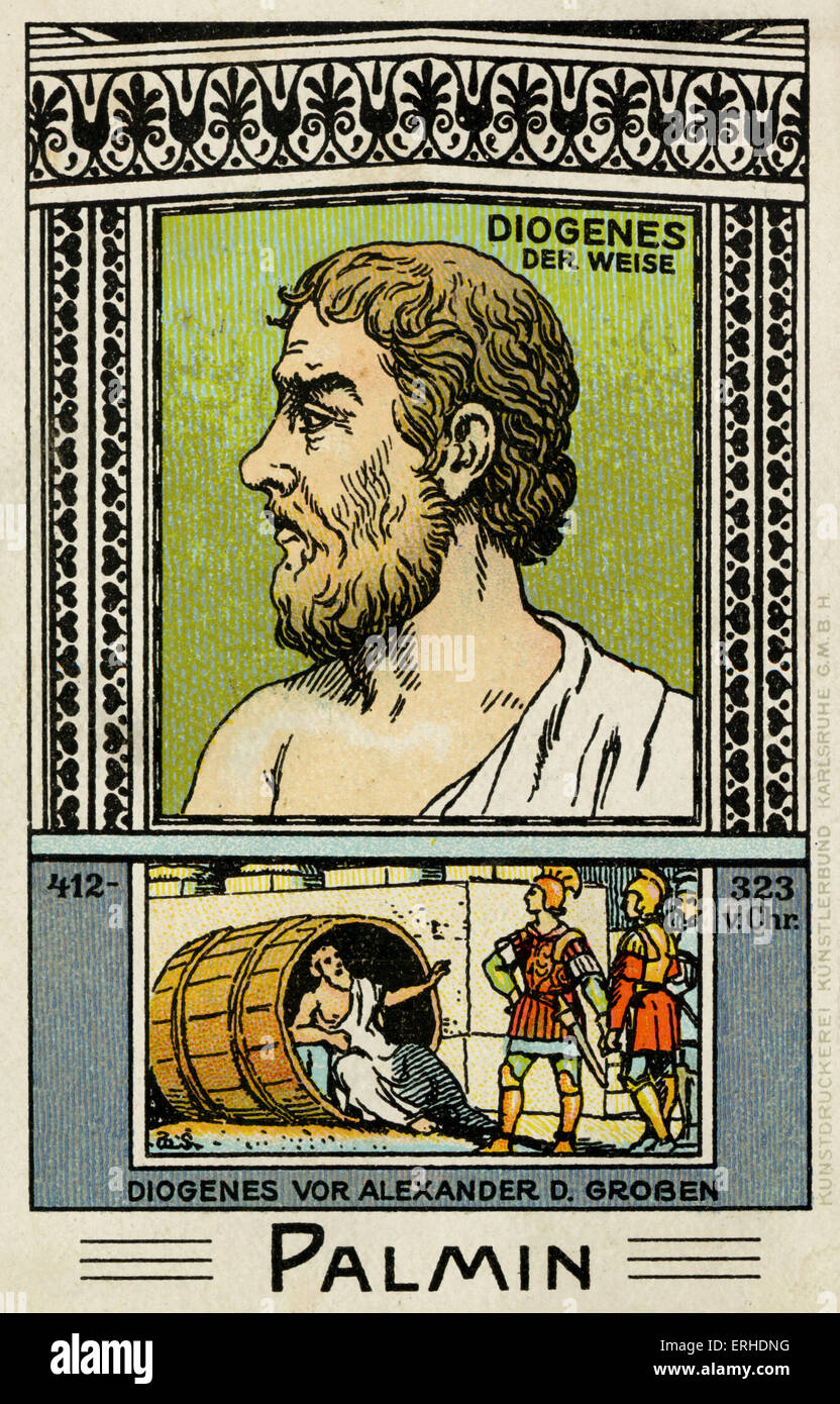 Diogenes the Wise - illustrated profile portrait. Scene in barrel with Alexander the Great.  Greek philosopher. - Stock Image