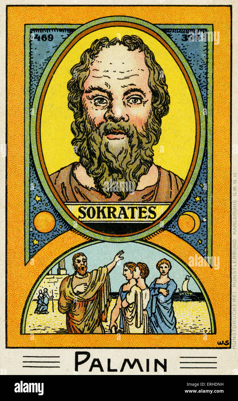 Socrates - illustrated portrait Scene representing him talking to the people.  Greek philosopher, 429 - 399 AD. - Stock Image