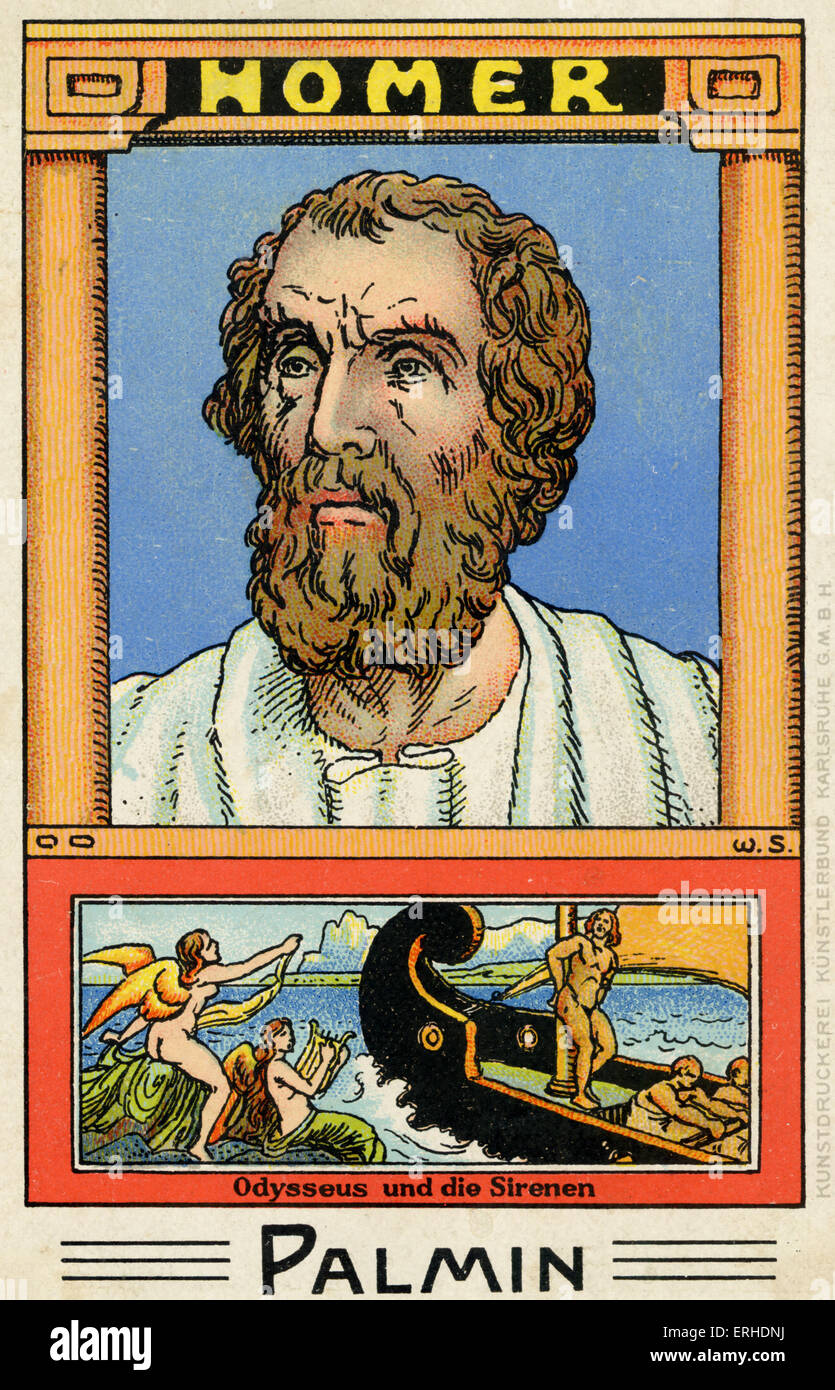 Homer - illustrated portrait. Scene Odysseus and the sirens.  Greek writer. Palmin collection card. - Stock Image