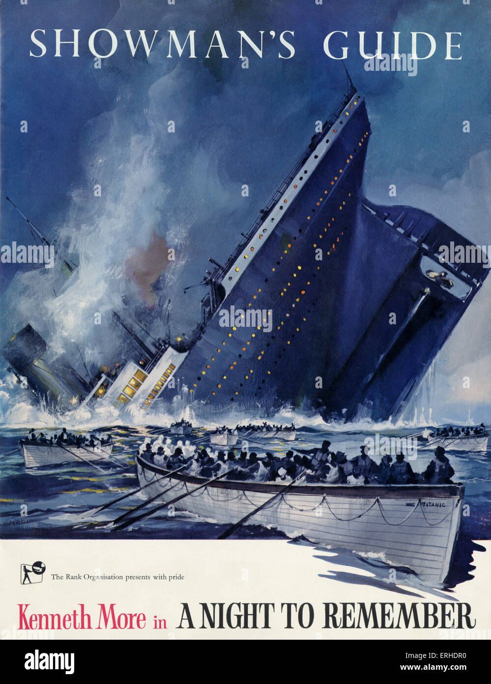 Titanic sinking on the cover of Showman's Guide for the Rank Organisation film ' A night to remember ' - Stock Image