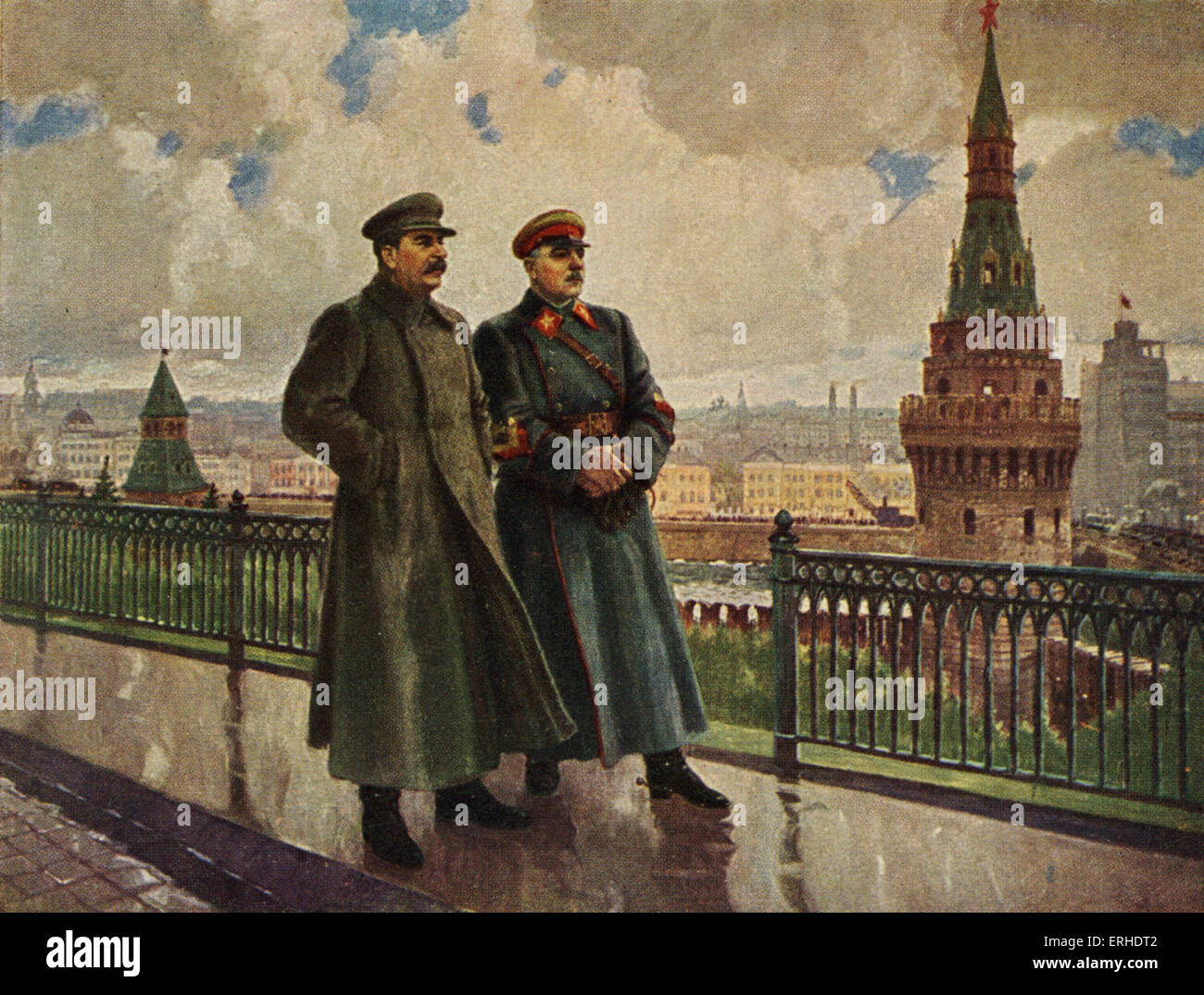 Joseph Stalin and Kliment Voroshilov on the Kremlin grounds. Stalin: 1879-1953 Idealised Soviet Russia postcard Stock Photo