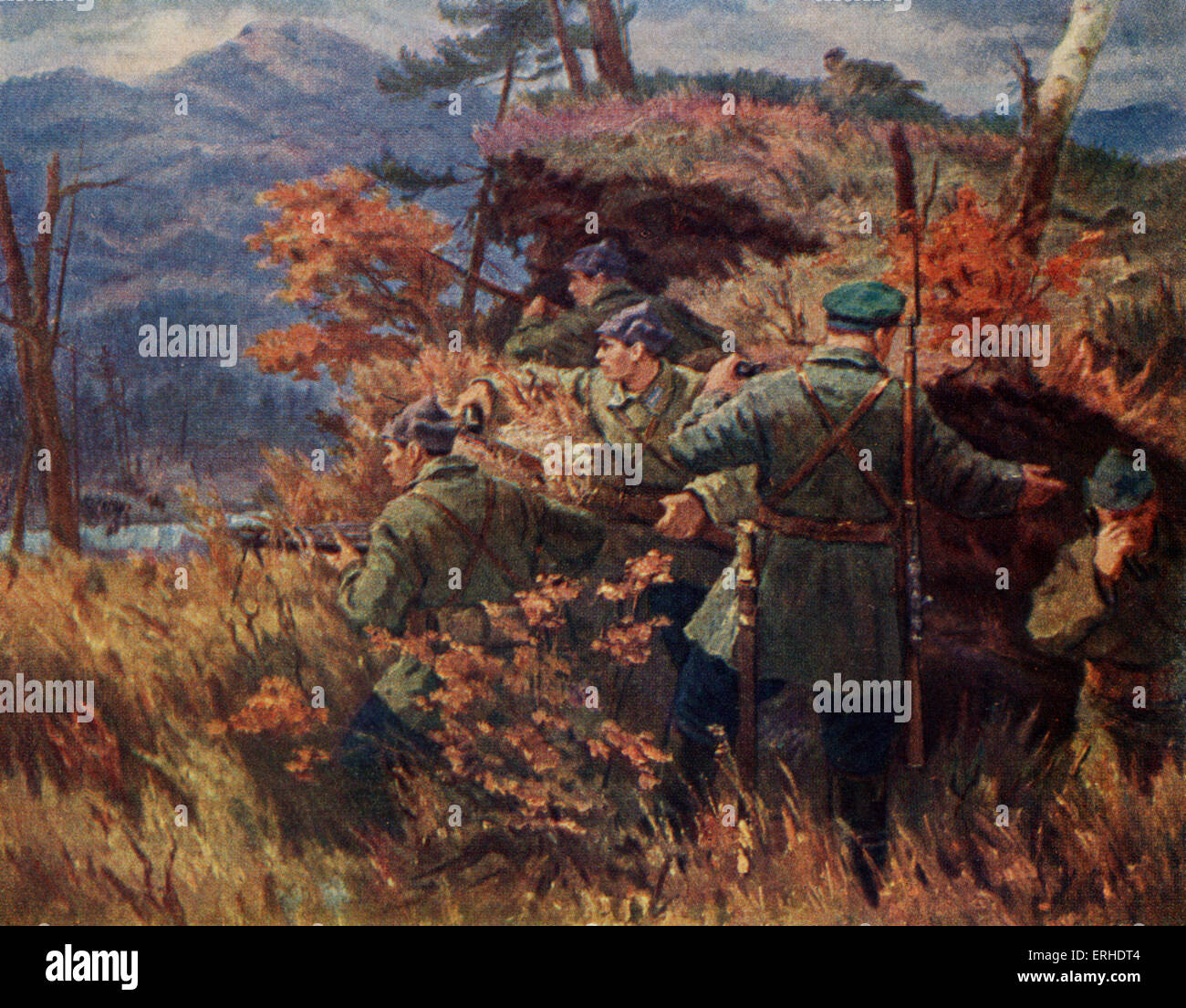 Russian Border Police Postcard Painting.   Stock Image
