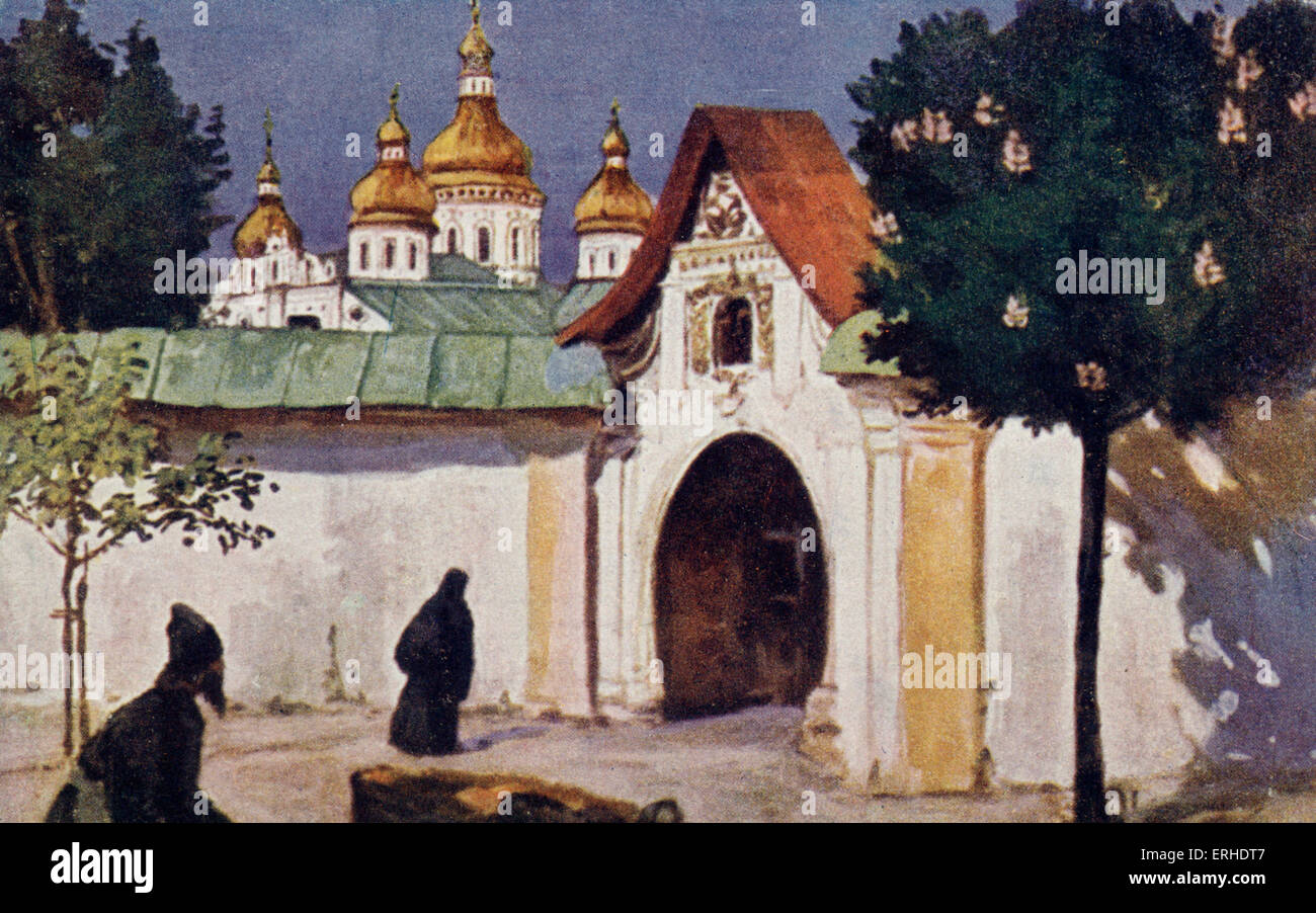 Monastery in Ukraine. Pre-revolution monastery, Russian orthodox church, Painting on postcard - Stock Image