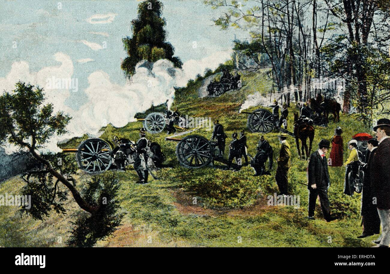 Franco-Prussian war scene with local people watching German soldiers practising using their cannons during military - Stock Image
