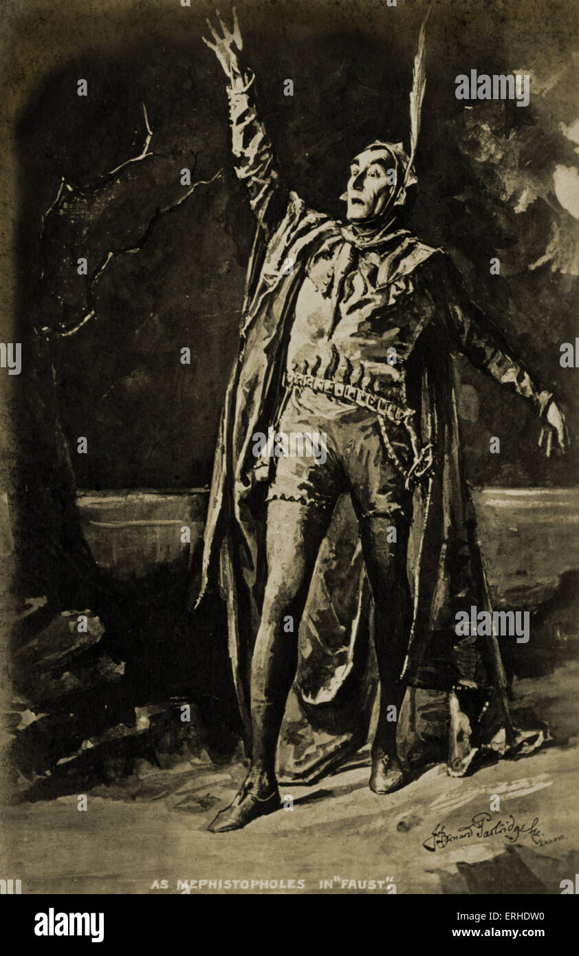 Sir Henry Irving - British actor in role of Mephistopheles in 'Faust' 6 February, 1838 - 13 October, 1905 - Stock Image