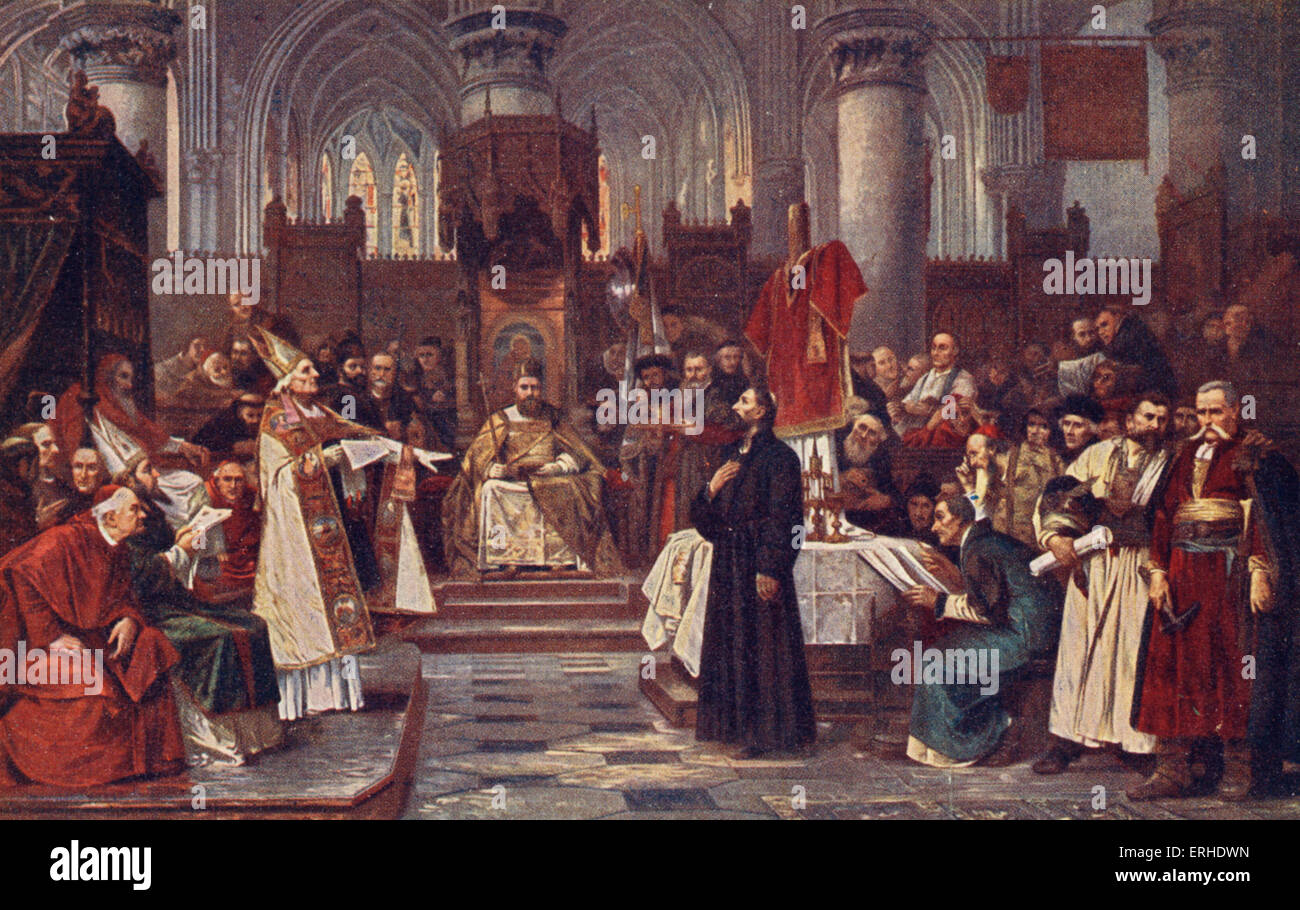 HUS, Jan (Jana Husa) - painting of the Bohemian religious reformer being  tried before being burnt at the stake - Stock Image