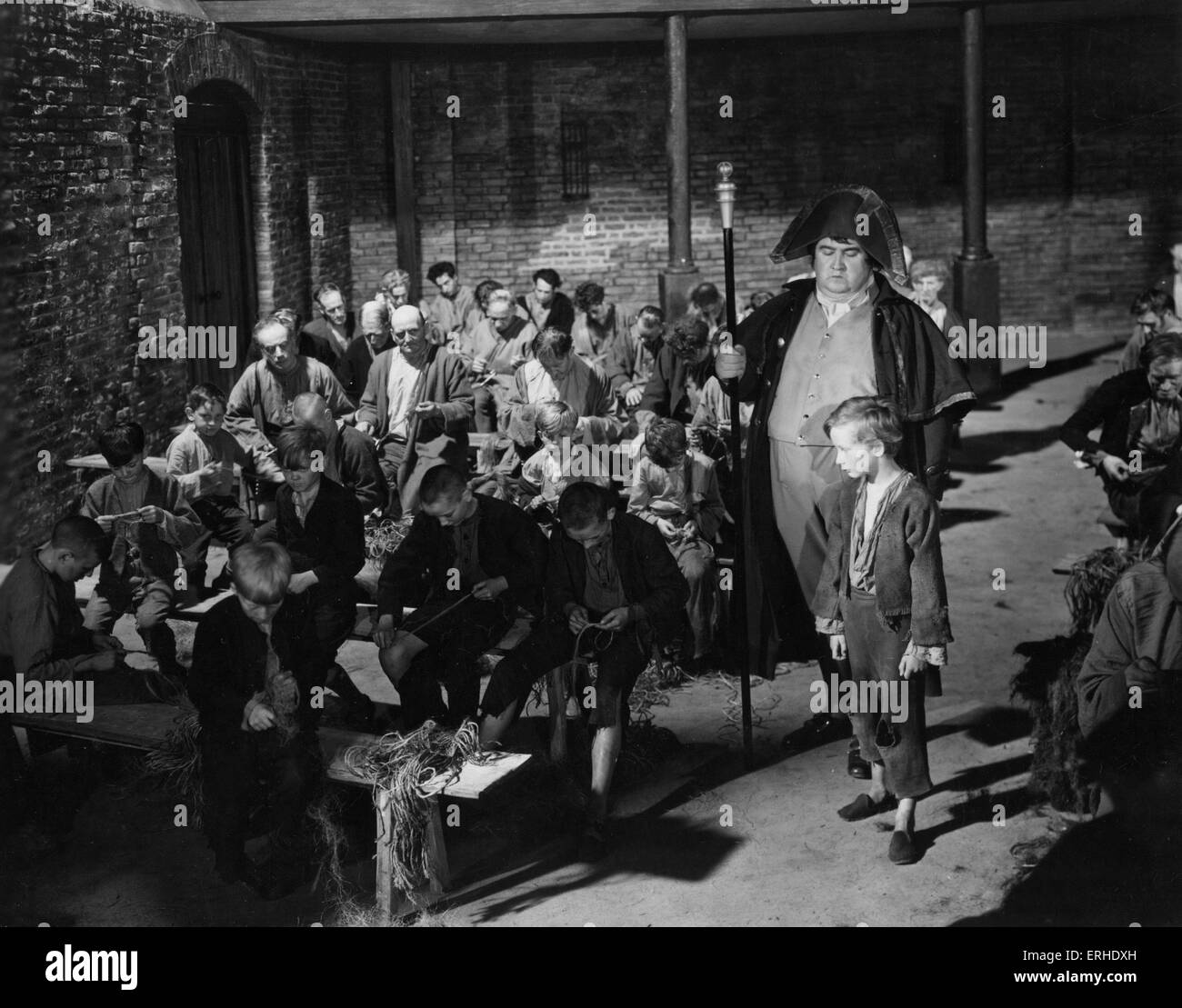 Oliver Twist film still from 1948 Rank Film production of Charles Dickens. British novelist, 7 February 1812 - 9 - Stock Image