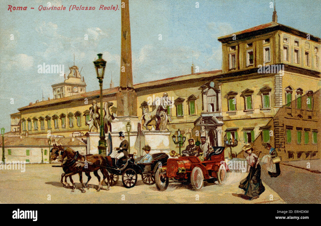 Rome, Palazzo Reale, Quirinale Italy. Early motor car and horse drawn carriage. postcard - Stock Image