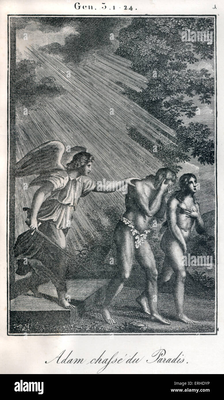 Bible, Adam and Eve being banished from Paradise / Garden of Eden. Fiery angel sending them out. Genesis Stock Photo