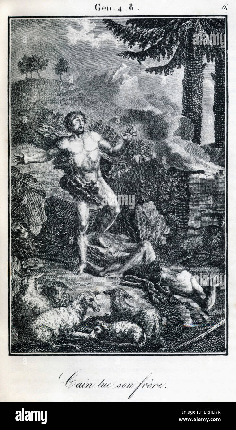 Bible, Cain killing Abel The first murder. Genesis. - Stock Image