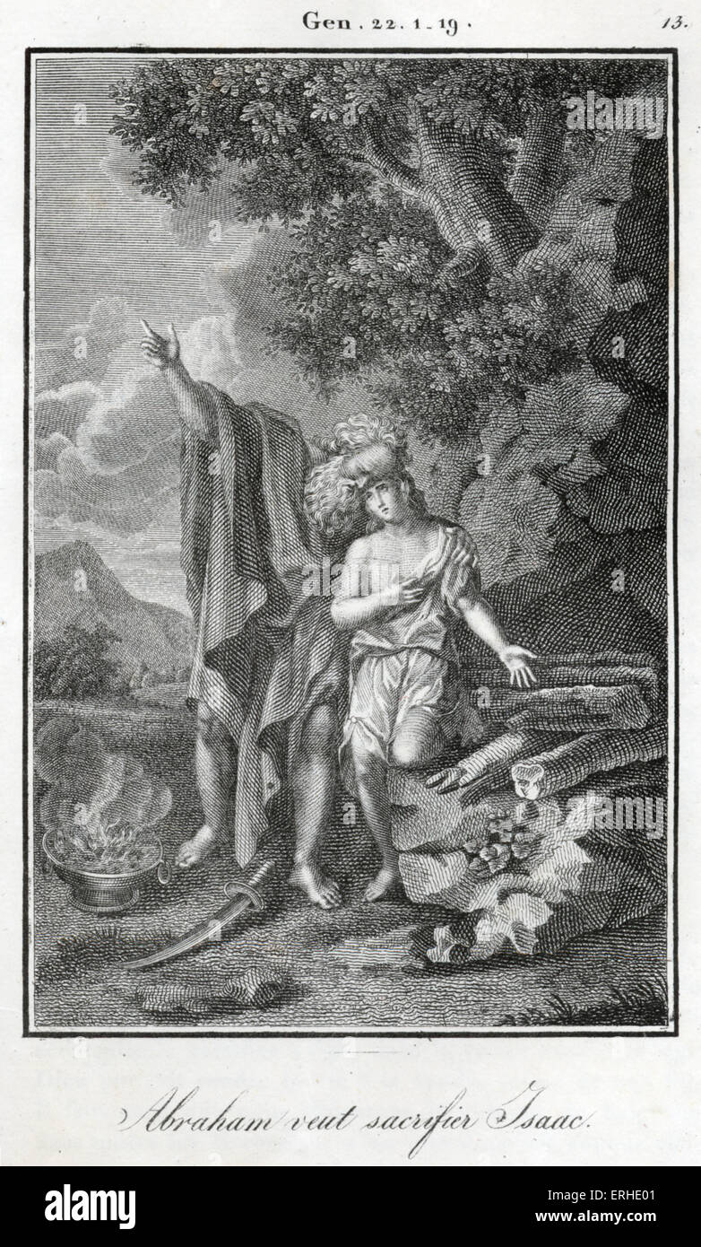 Bible, Preparing to sacrifice  Isaac Abraham is prepared to sacrifice his only son. Genesis - Stock Image