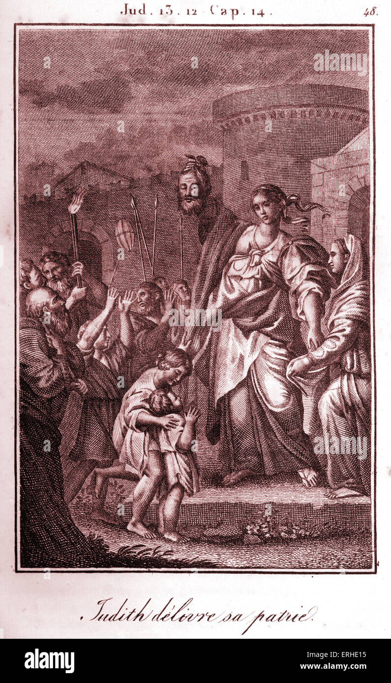 Bible, Judith displaying the head of Holofernes after chopping it off and saving Jerusalem. Stock Photo