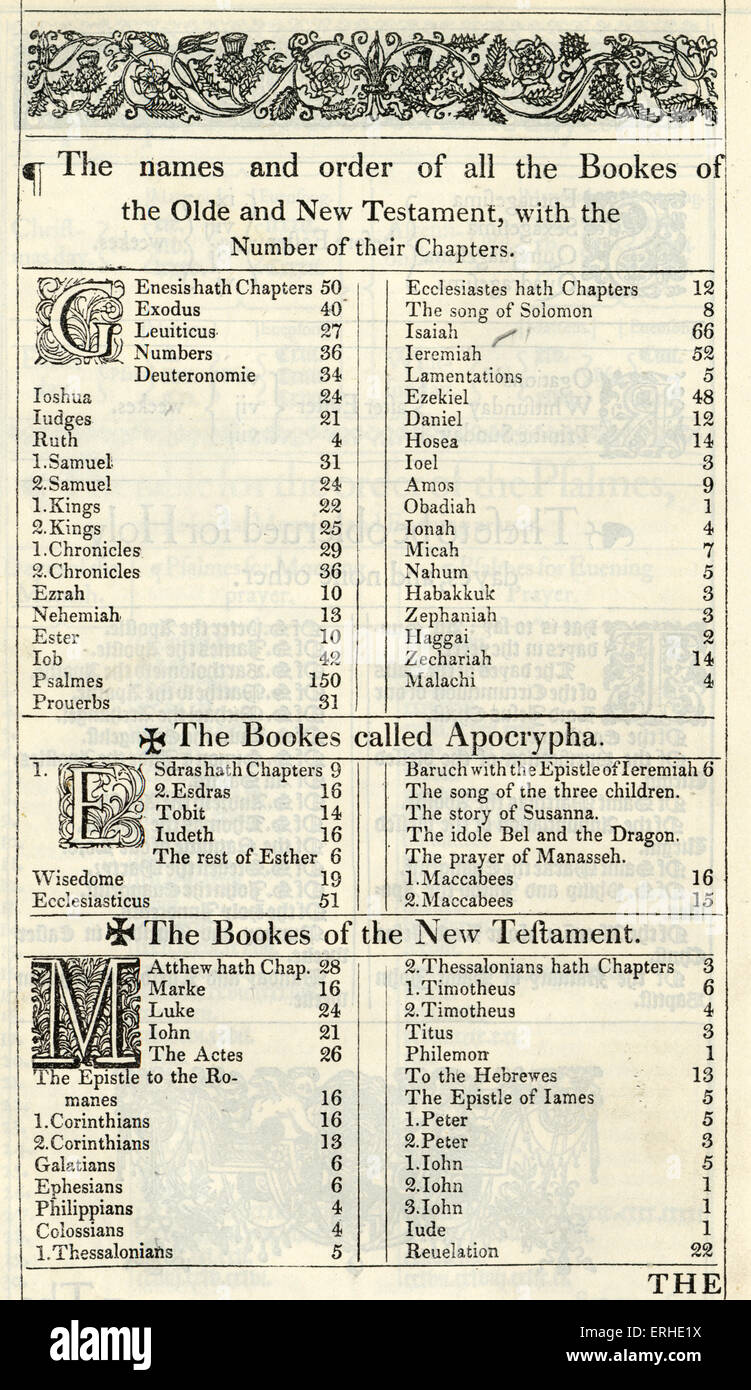 The Holy Bible published  1611 known as the King James' version. 'The names and order of all the Bookes - Stock Image